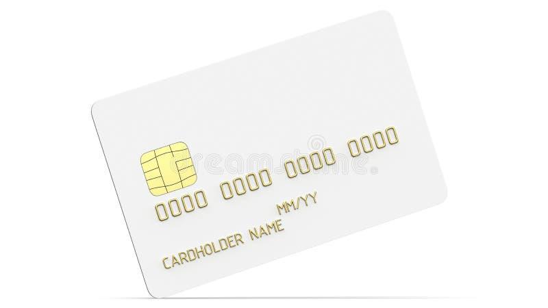 Debetowy klingeryt karciany lub kredytowa karta, biała z złocistymi symbolami 3D odpłacają się pusty biały szablon dla egzaminu p ilustracji