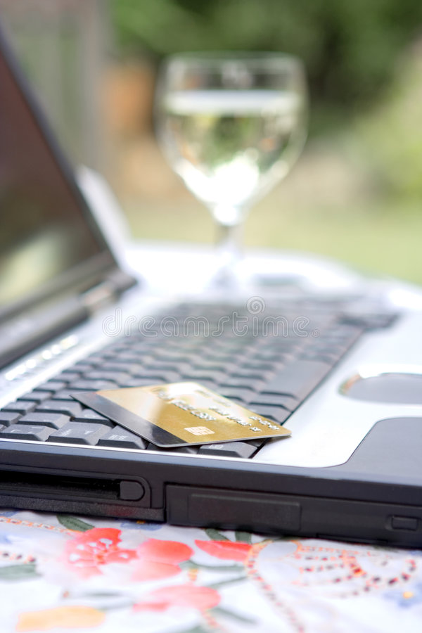Free Debit Card Resting On Laptop Stock Images - 2600464