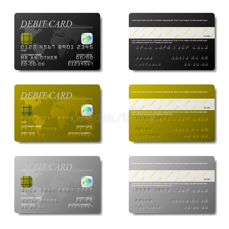 Download Debit Cards stock vector. Illustration of currency, identity - 10093541