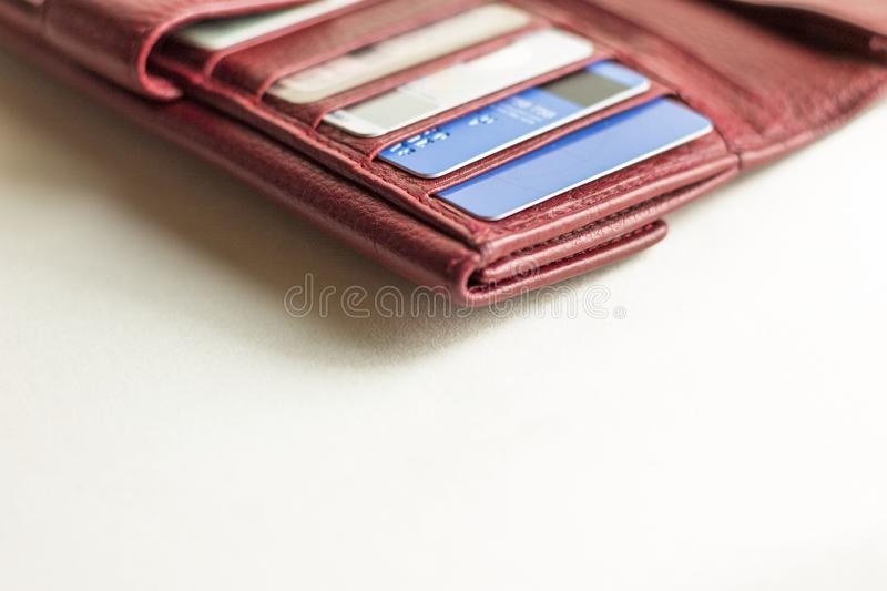 Debit cards in a wallet. Credit cards in a billfold. Copy space stock photos