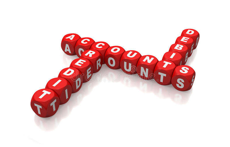 Debit, credit and accounts as red cubes crossword stock photo