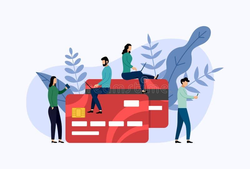Debitering eller kreditkortbetalning royaltyfri illustrationer