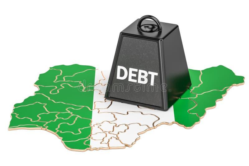 Debito pubblico nigeriano o disavanzo del bilancio, crisi finanziaria illustrazione di stock