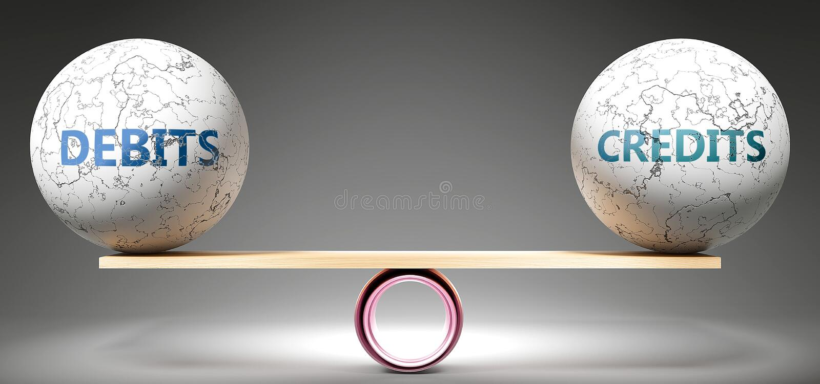 Debits and credits in balance - pictured as balanced balls on scale that symbolize harmony and equity between Debits and credits. That is good and beneficial vector illustration