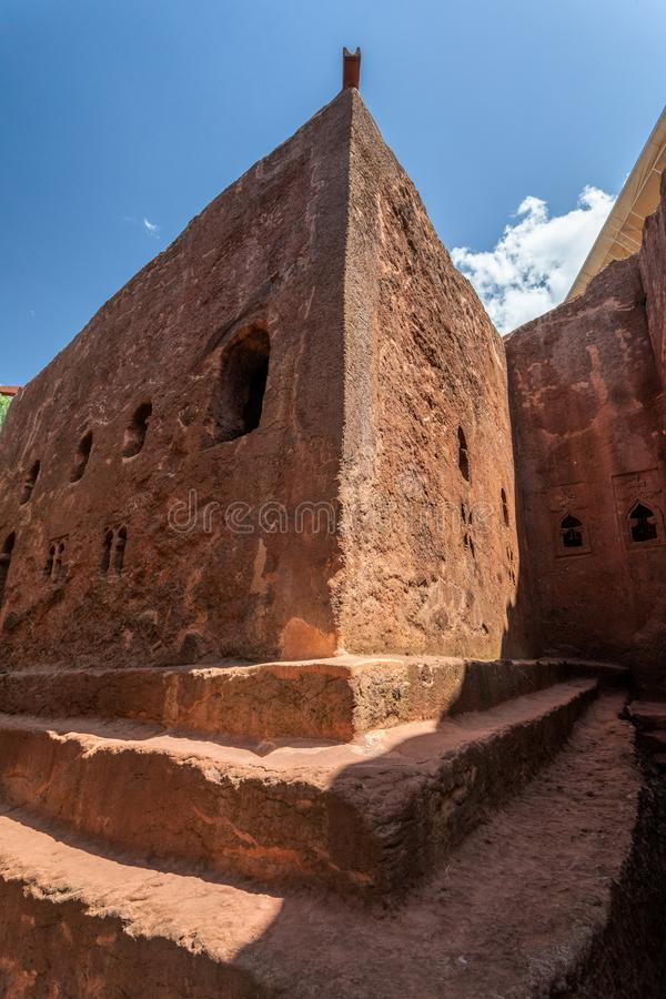 Debre Sina-Mikael Orthodox monolith Lalibela, Ethiopia. Debre Sina-Mikael an underground Orthodox monolith rock-cut church located in Lalibela, Ethiopia. UNESCO royalty free stock photography
