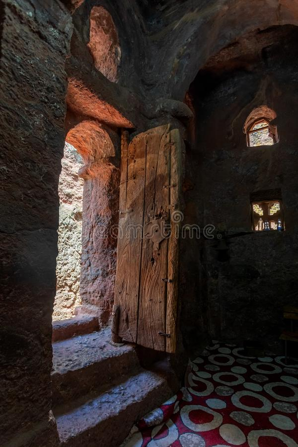 Debre Sina-Mikael Orthodox monolith Lalibela, Ethiopia. Debre Sina-Mikael an underground Orthodox monolith rock-cut church located in Lalibela, Ethiopia. UNESCO stock photo
