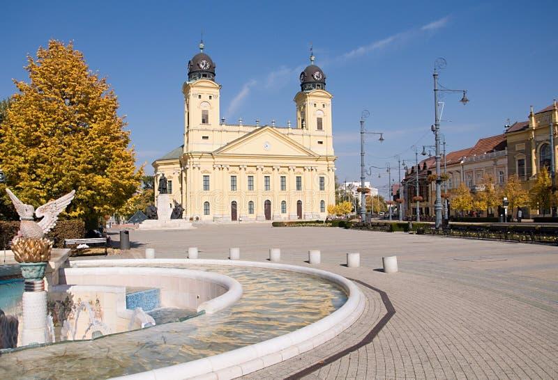 Debrecen, Hungary. Main square with yellow church in Debrecen, Hungary stock photos