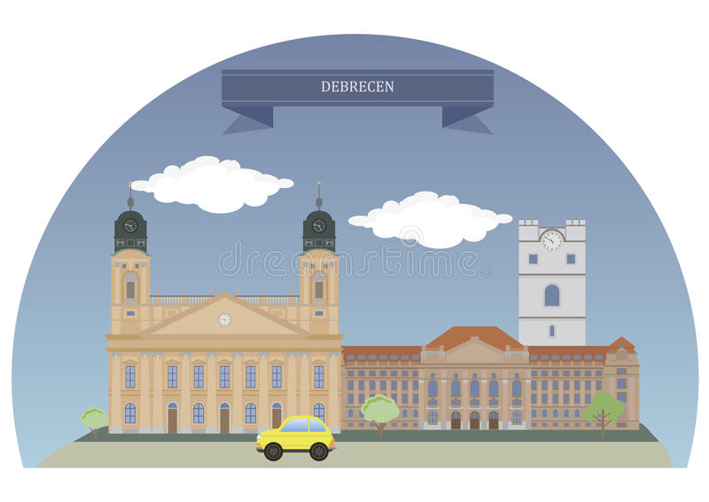 Debrecen, Hungary. Debrecen,second largest city in Hungary after Budapest stock illustration