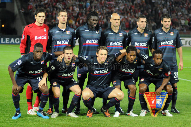 Debrecen - Lyon Abgleichung UEFA-Champions League lizenzfreie stockfotos