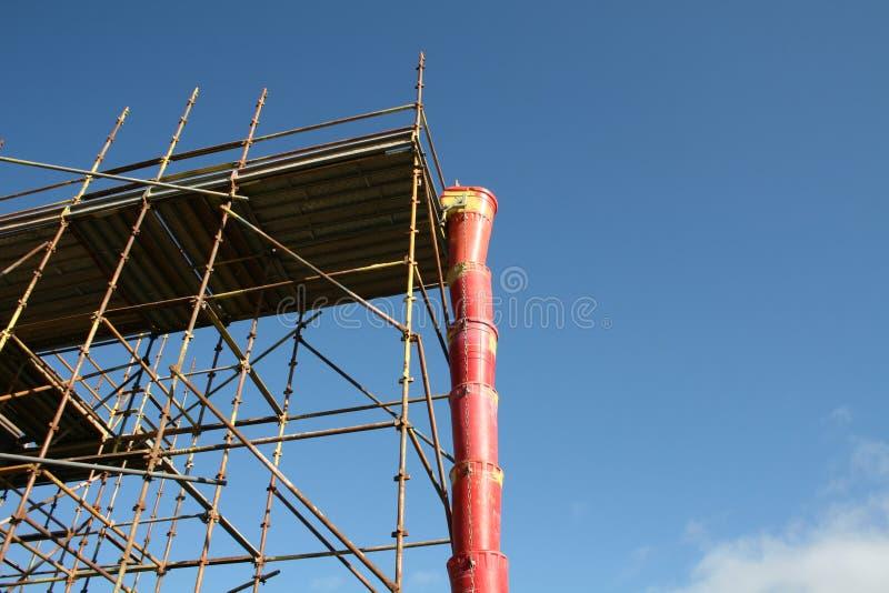 Debris chute and scaffolding stock photo