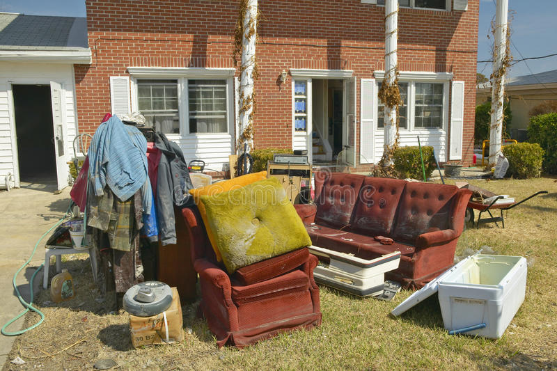 Debris In Front Of House Editorial Stock Image