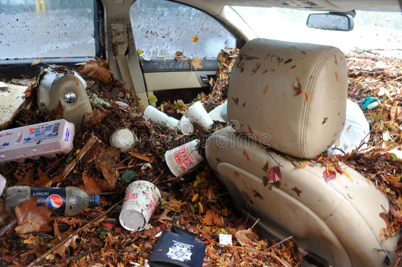 Debris litters inside abandoned car royalty free stock photos