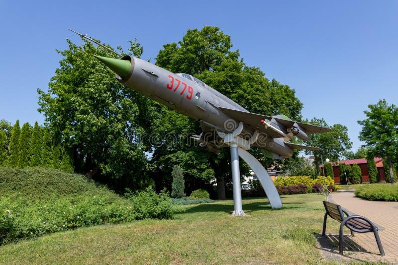 Debrzno, Pomeranian Voivodeship/Πολωνία - 11 Ιουνίου 2019: Μνημείο αεροπλάνων σε μια μικρή πόλη σε Pomerania Αεροπλάνα που μετασχ στοκ φωτογραφία με δικαίωμα ελεύθερης χρήσης