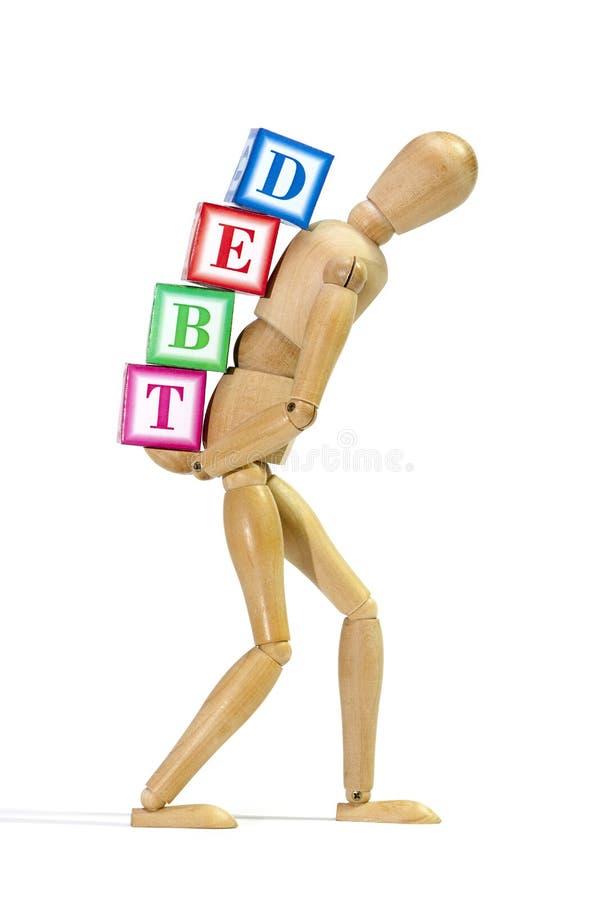 Debt burden. Mannequin loaded with debt as a concept of 'debt burden stock images