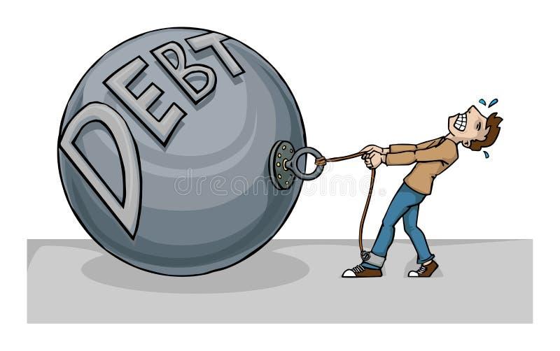 Debt. Business man burdened with huge Debt royalty free illustration