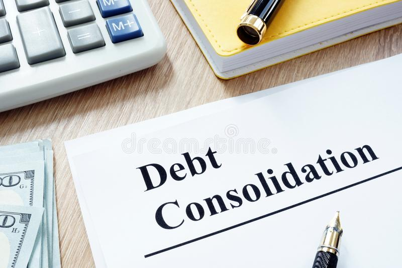 Debt consolidation form and money. stock image