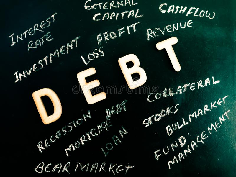 debt financial related terminology displayed on greenish chalkboard concept royalty free stock images