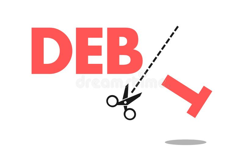 Debt forgiveness, elimination, cancellation and relief. Financial loan, liability and leverage is cancelled by scissors. Economic help for debtors. Vector stock illustration