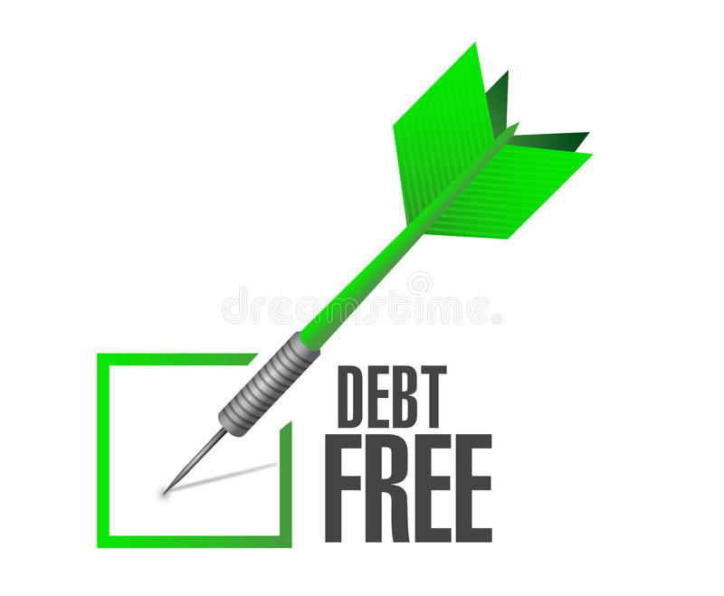 debt free check dart sign concept illustration stock illustration
