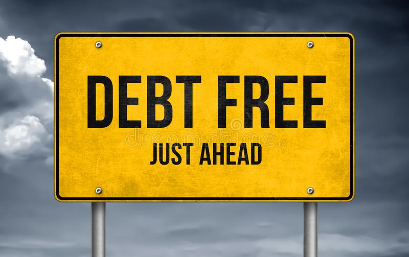 Debt Free. Just ahead road sign stock images