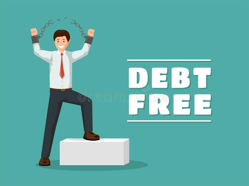Debt free flat vector banner template. Cheerful man with broken chains celebrating financial independence with vector illustration