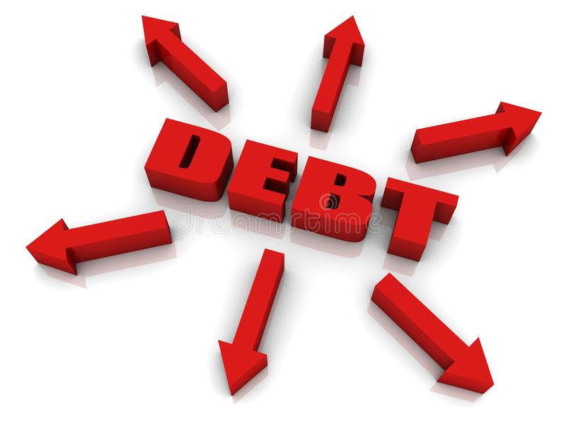 Debt Growth. DEBT 3D text with arrows pointing outwards. Part of a series vector illustration