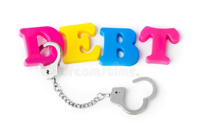 Debt and handcuffs royalty free stock photography