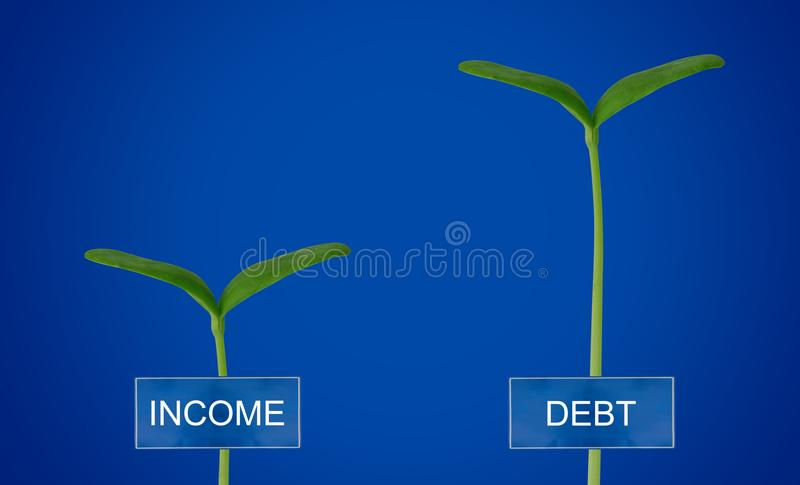 Debt and Income Conccept. Debt and income, financial crisis concept, young plant on blue background royalty free stock image