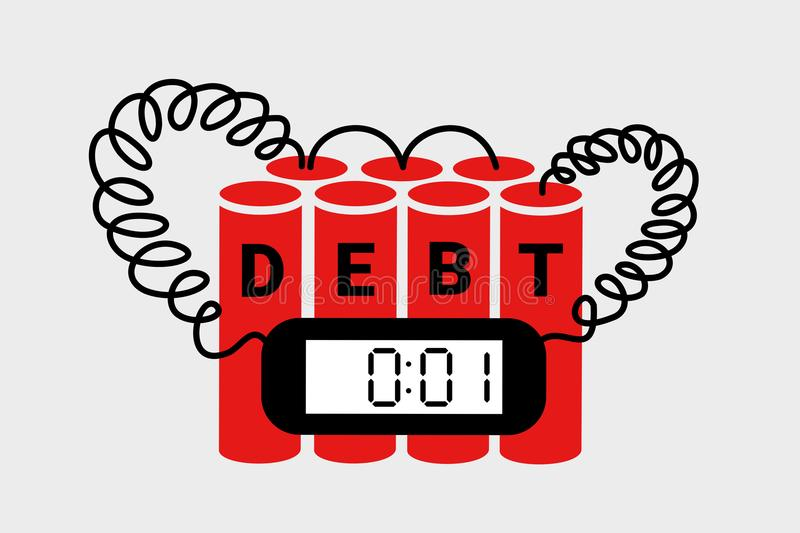 Debt and indebted economy as explosive bomb leading to collapse, breakdown, financial crisis and bankruptcy stock illustration
