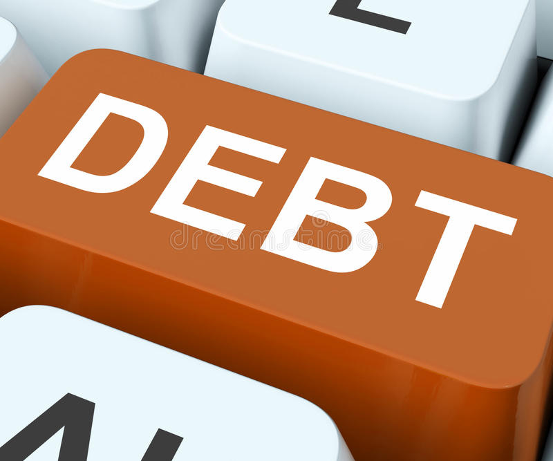 Debt Financing: Debt Key Show Indebtedness Or Liabilities Stock