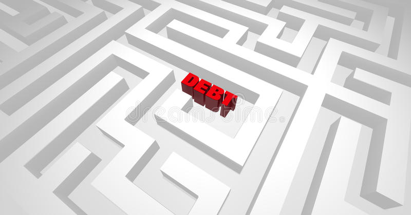 Debt Labyrinth. Lost deep in debt, or stuck with debt, having difficulty, being in a trap vector illustration