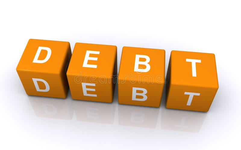 Debt letter blocks royalty free stock image