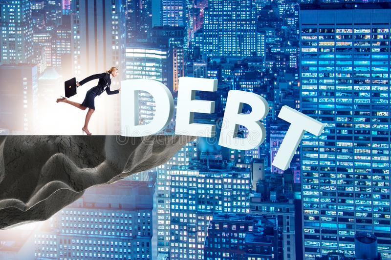 Debt and loan concept with businesswoman royalty free stock photo
