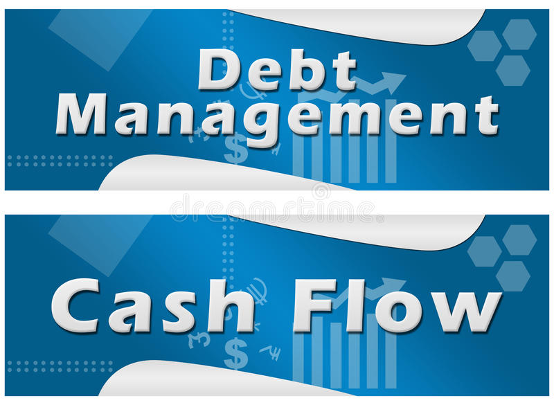 Debt Management Cash Flow Banners. Set of banners stock illustration