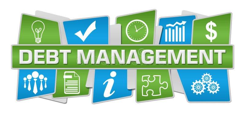 Debt Management Blue Green Up Down Symbols vector illustration