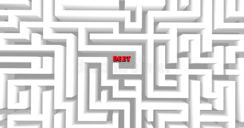 Debt Maze. A maze containing the word Debt, symbolizing the difficulty of modern finances and budgets stock illustration