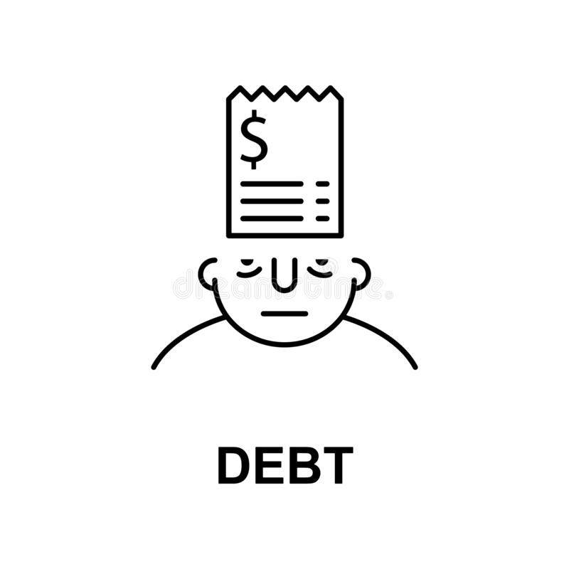 debt on mind icon. Element of human mind icon for mobile concept and web apps. Thin line debt on mind icon can be used for web and royalty free illustration