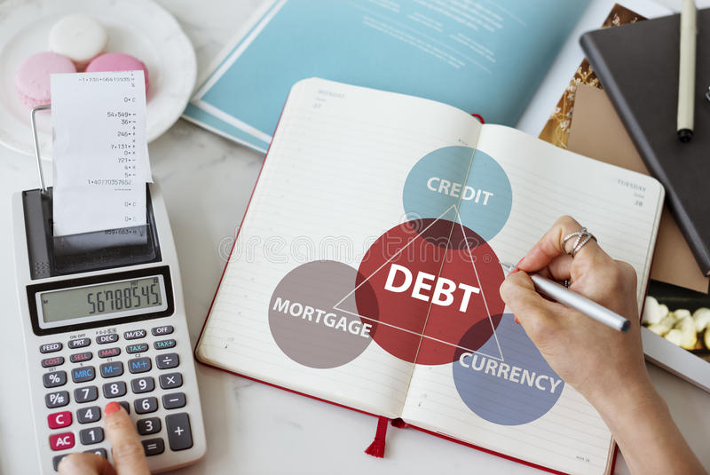 Debt Mortgage Credit Currency Financial Transaction Concept. Debt Mortgage Credit Financial Concept royalty free stock photo