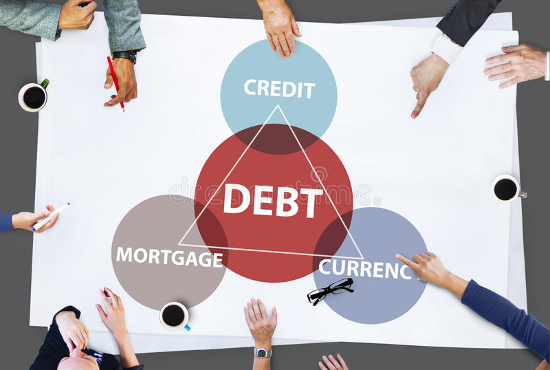 Debt Mortgage Credit Currency Financial Transaction Concept. Business Meeting Debt Mortgage Credit Currency Financial Transaction royalty free stock image