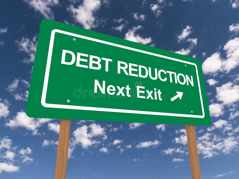 Debt reduction sign. Green sign with the words 'Debt Reduction'. Blue sky and cloud background