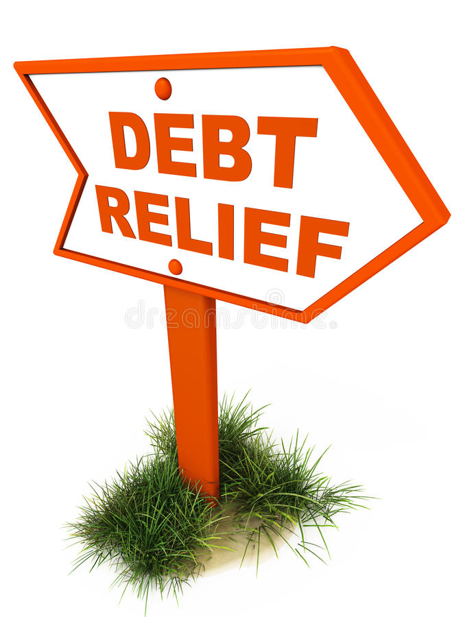 Debt relief. Written on a road sign with grass at it's feet, and white floor, debt reduction and financial well being concept royalty free illustration