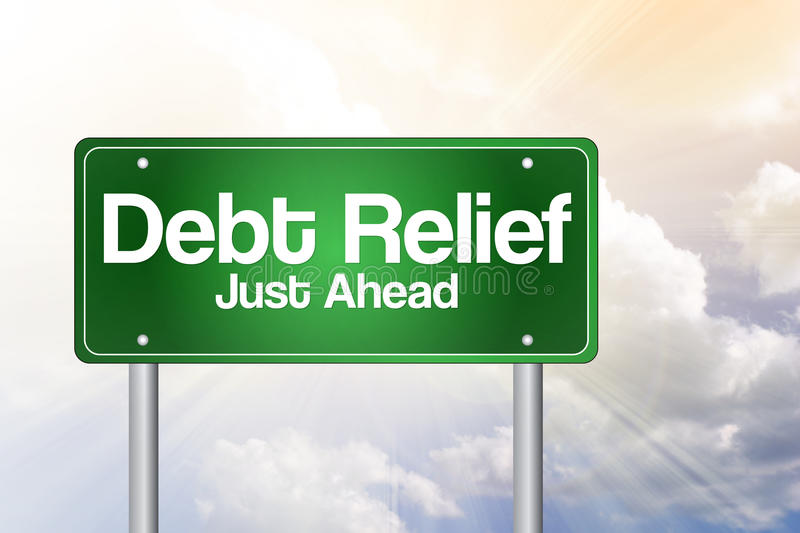 Debt Relief, Just Ahead Green Road Sign stock illustration
