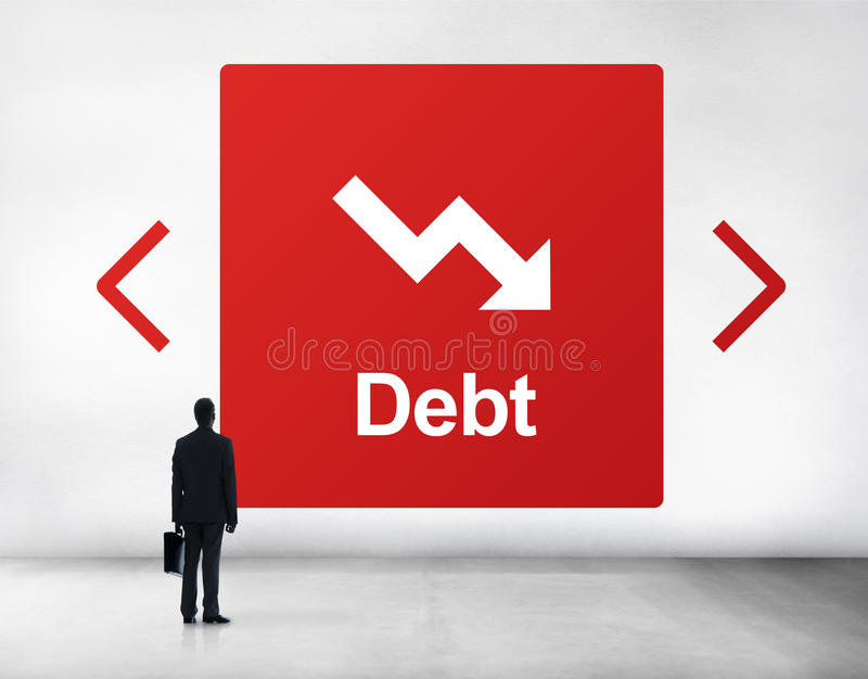 Debt Risk Difficulty Downfall Concept. Debt Risk Difficulty Downfall Decrease royalty free stock photography