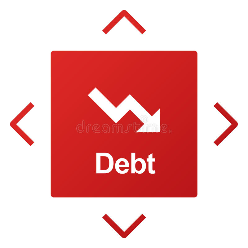 Debt Risk Difficulty Downfall Concept. Debt Risk Difficulty Downfall Graphic vector illustration