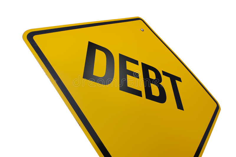 Debt Road Sign stock image
