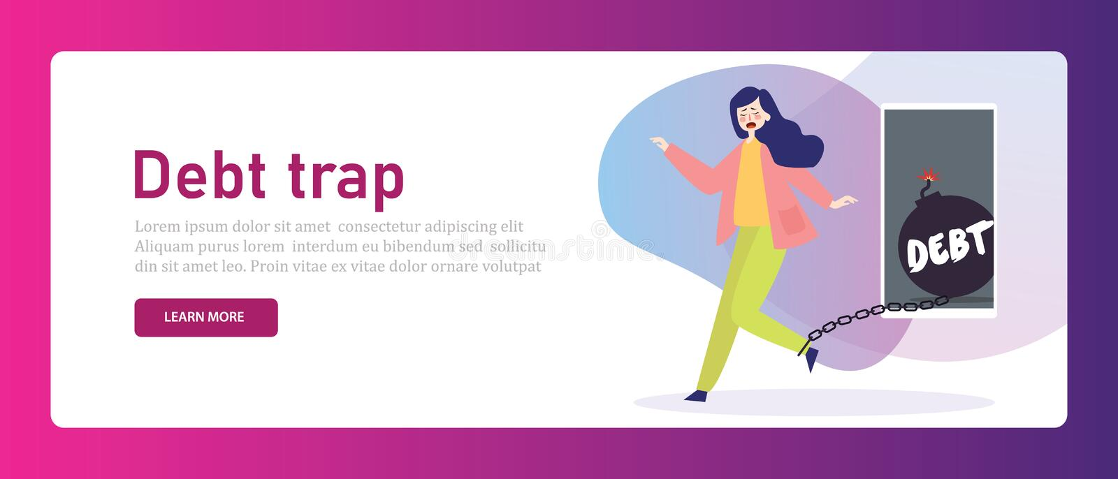 Debt trap woman struggling trapped chained on heavy credit financial loan problem from online technology mobile phone royalty free illustration