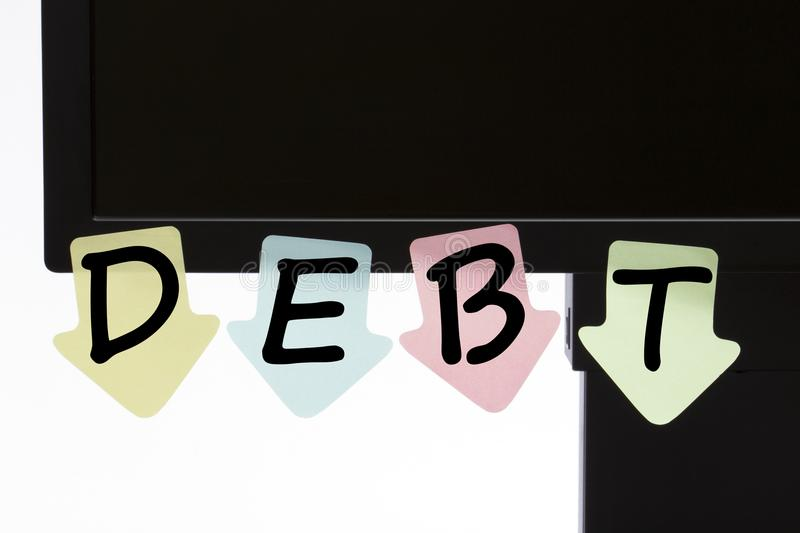 Debt written on color stickers concept royalty free stock images