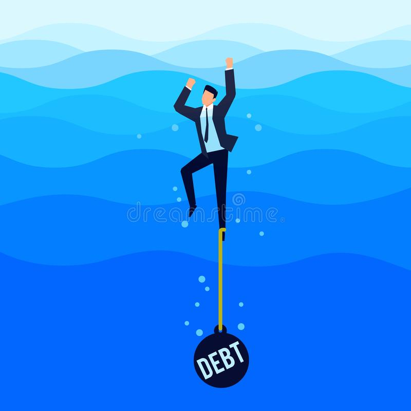 Debtor. Debt concept. Businessman drowns in the sea. Debtor. Debt concept. Businessman with a load tied to his foot drowns in the sea. Vector illustration vector illustration