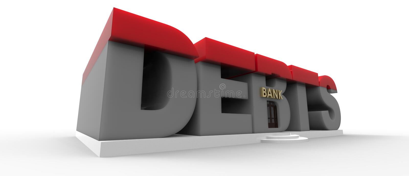 Debts Bank. Debt concept in the shape of a bank for debts stock illustration
