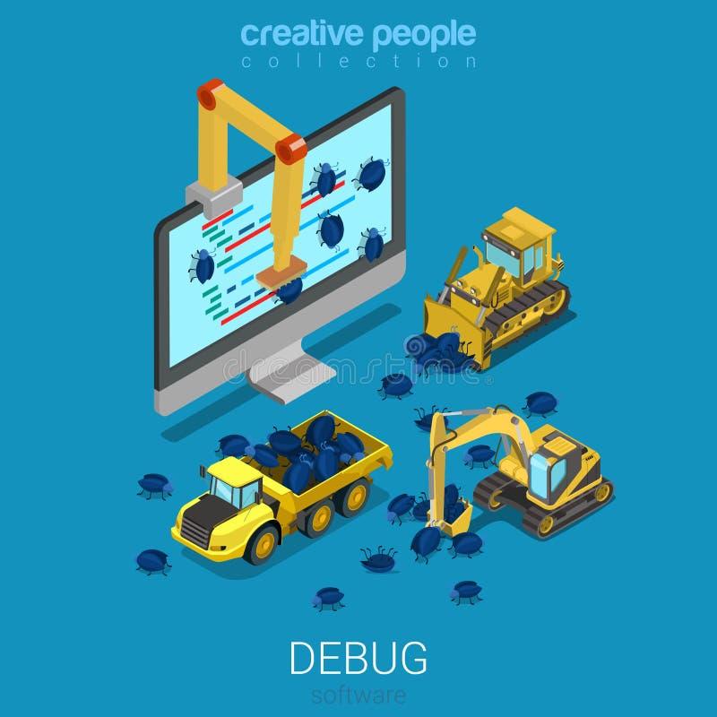 Debug programma la costruzione che mette a punto il vettore enorme dell'insetto isometrico illustrazione di stock